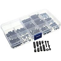 UNHO 260 Piezas M3 Espaciadores Hexagonales Kit de Tornillos y Tuercas de Nylon Negro Accesorios para PCB Drones Bricolaje Con Caja de Plástico