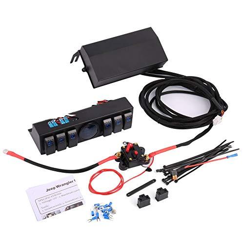 6 Gang Rocker Switch Panel Schalter Bedienpult System mit Spannungsmesser Digitalanzeige für Jeep Wrangler JK TJ
