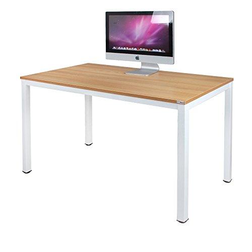Need Bureau 120x60cm d'ordinateur Table Informatique Meuble de bureau pour Ordinateur pour salle à manger, salon, cuisine, Teck Chêne & Blanc