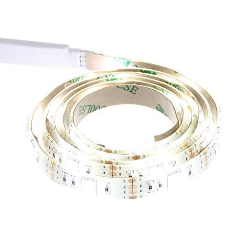 Smartfox LED Strip Leuchtstreifen Lichtband Leuchte Deko 200cm batteriebetrieben selbstklebend in weiß