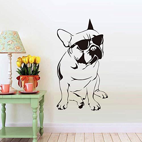 Wandaufkleber Hübsche Französische Bulldogge Mit Sonnenbrille Papier Junge Vinyl Tier Blume Kinder Dekoration 77 cm * 43 cm