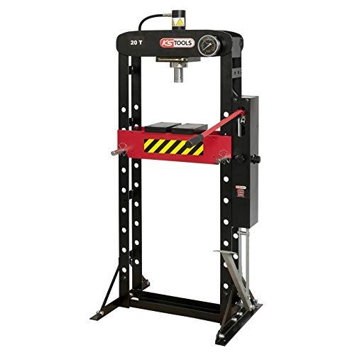 KS Tools 160.0113 Presse, 20 tonnes à Pompe hydraulique 2 Vitesses, Rouge/Noir