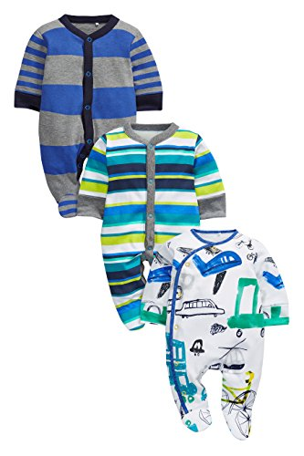 next-Beb-Nios-Pack-De-Tres-Pijamas-Trasporte-BlancoAzul-0-Meses-2-Aos
