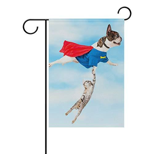 JIRT Garten-Flagge, 30,5 x 45,7 cm, Fliegende Superhelden-Hunde/Katze, doppelseitig, Polyester Banner für drinnen und draußen, für Rasen und Hof, Dekoration, Image 241, ()