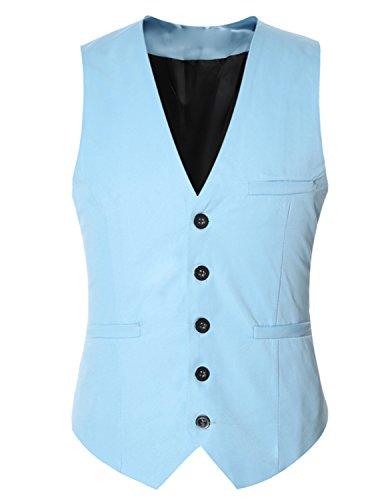 YCHENG Gilet Veste Sans Manche Homme Multicolore Gilets Bleu 2