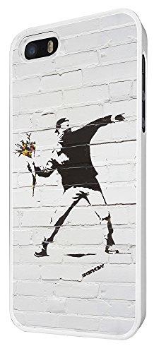 549-Banksy Graffiti Art Wall Funky Flower Thrower Coque iPhone 44S Design Fashion Trend Case Back Cover Métal et Plastique-Blanc