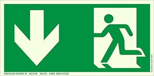 Notausgang Schild ISO 7010 gem. ASR A1.3, in 300x150 mm Folie Nachleuchtend selbstklebend SUPER-N, unten-Notausgang-Flucht-Rettungswegzeichen