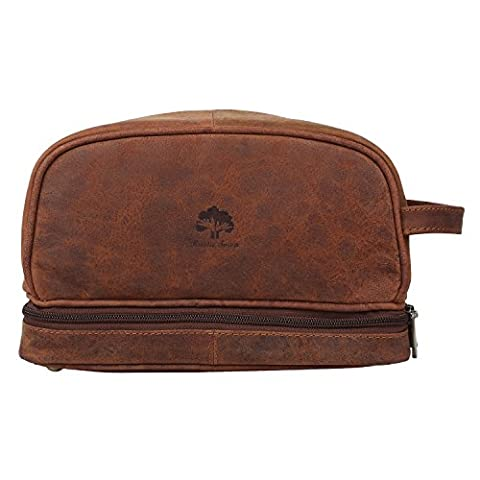 Leather Toiletry Bag Men Women Travel Bathroom Makeup Travel Kit Organizer Gift, Brown