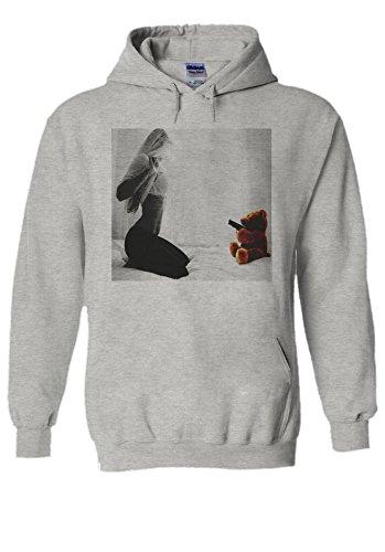 Sexy Girl Teddy Bear Gun Funny Novelty Grey Men Women Unisex Hooded Sweatshirt (Teddy Bear Sexy)