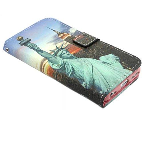 iPhone 6 Plus Coque, iPhone 6 Plus 5.5 Coque, Lifeturt [ New York ] Coque Dragonne Portefeuille PU Cuir Etui en Cuir Folio Housse, Leather Case Wallet Flip Protective Cover Protector, Etui de Protecti E02-Statue de la Liberté90763