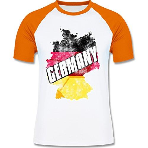 EM 2016 - Frankreich - Germany Umriss Vintage - zweifarbiges Baseballshirt für Männer Weiß/Orange