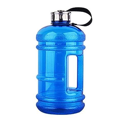 Lugii Cube bouteilles d'eau avec couvercle en acier inoxydable Poignée de grande contenance bouteilles d'eau portable pour sports de plein air Gym Fitness Training Camping Course à Pied 2.2L, noir foncé