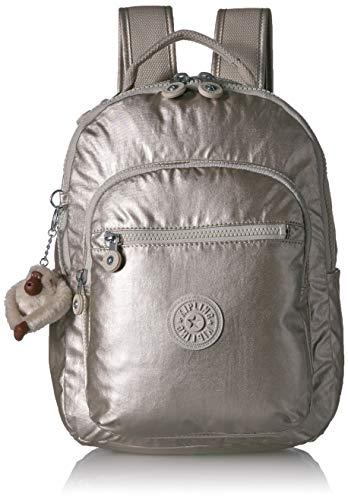 Kipling Unisex-Erwachsene Seoul Go Small, Padded, Adjustable Backpack Straps, Zip Closure Rucksack, Cloud Grey/Metallic, Einheitsgröße