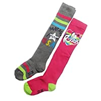 Girls Soft Thermal Padded Long Ski Socks Kids Skiing Snow High Performance Sports Socks Pack of 2 PRIME