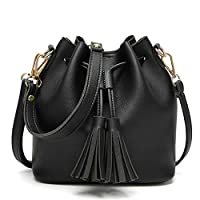 TnXan Fashion Small Women Leather Bucket Bag Handbag Tassel Drawstring Shoulder Bag Messenger Crossbody Bags Purses Casual Daypacks