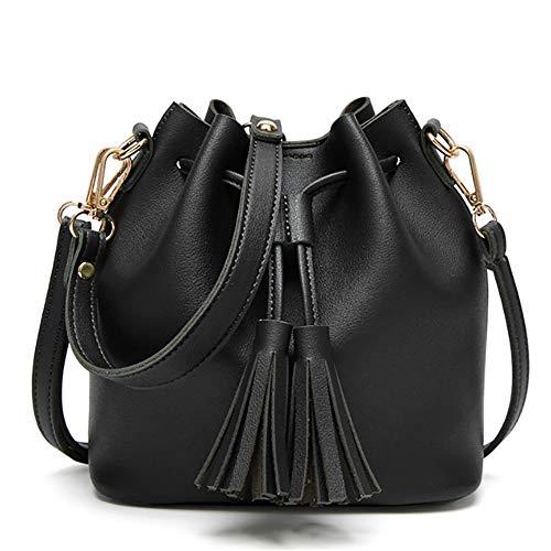 TnXan Fashion Small Women Leather Bucket Bag Bolso Borla Cordón Bolso de Hombro Messenger Crossbody Bolsos Monederos Casual Daypacks