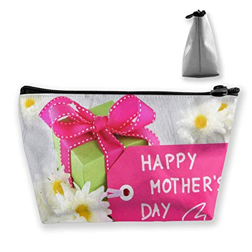 Makeup Bag Cosmetic Mother Gift Flower Portable Cosmetic Bag Mobile Trapezoidal Storage Bag Travel Bags with Zipper