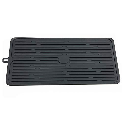 Soporte organizador de secado de tazas portátil multifunción de silicona bandeja para cubiertos escurreplatos escurreplatos plegable fregadero cocina (negro) Tamaño libre negro