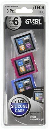 & G BL Silikonhülle (für iPod Nano 6, Transparent/Rosa/Blau, 3 Stück Ipod Nano 3 Silicon Case