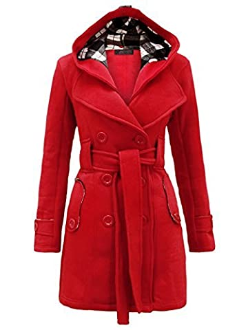 Envy Boutique Damen Jacke Fell Kapuze Parka Militär Mantel Fleece mit Gürtel Übergröße 36 - 50 - 40,
