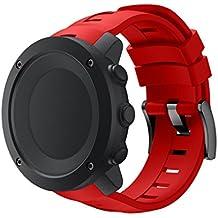 Suunto Ambit3 Vertical Correa, Malloom Nueva moda deportes silicona pulsera de banda de correa para Suunto Ambit3 Vertical (Rojo)