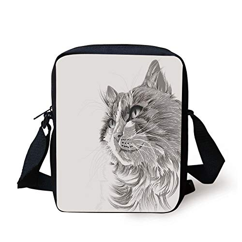 Animal,Cat Head Portrait Furry Cute Head Kitten Domestic Meow Pet Drawing Illustration Decorative,Grey White Print Kids Crossbody Messenger Bag Purse