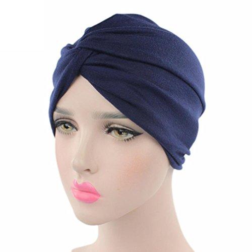 Jaminy Frauen Krebs Chemo Hut Beanie Schal Turban Kopf Wrap Cap (Marine) (Seide Chiffon Wickel Bluse)