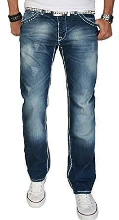 A. Salvarini Herren Designer Jeans Hose blau Dicke weiße Nähte 07 [AS007 - W29 L30]