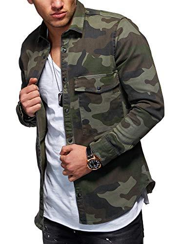 behype. Herren Langarm Destroyed Jeans-Hemd Denim Freizeit-Hemd Shirt 90-8715 Camouflage-Khaki L