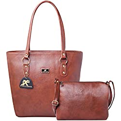 Speed X Fashion Women's Handbag And Sling Bag Combo(SNKR-RTY,Brown)