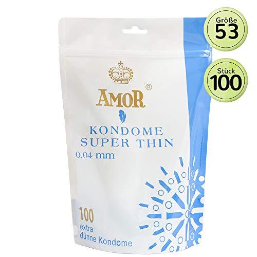 """AMOR\""""Super Thin 0,04mm\"""" 100er Pack Markenkondome, extra dünne Wandstärke für pures Gefühl, hauchzart und feucht"""