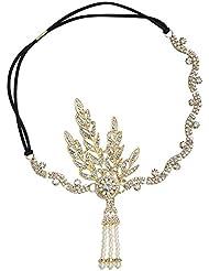 BABEYOND Damen Flapper Stirnband 1920s Stil Art Deco Inspiriert von Great Gatsby Blatt Medaillon Blinkende Kristalle Haarband 20er Jahre Kostüm Motto Party Accessoires