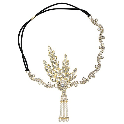 BABEYOND Damen Flapper Stirnband 1920s Stil Art Deco Inspiriert von Great Gatsby Blatt Medaillon Blinkende Kristalle Haarband 20er Jahre Kostüm Motto Party Accessoires (20er Jahre Kostüm Mottoparty)