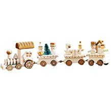 Train de Noel HIver Holiday Train en Bois Enfant Cadeau Noël Decoration