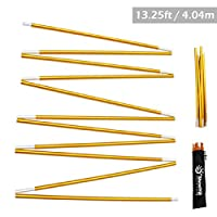 Azarxis Tent Pole Repair Kit Splint Support Kit Replacements Aluminum Rod Adjustable Replacement Poles Accessories for Camping Hiking Backpacking Tent (Gold - 13.25ft)