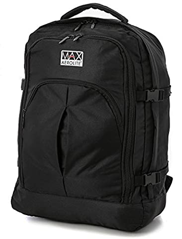 Aerolite RYANAIR Maximum Allowance 40 Litre Backpack Rucksack Flight Bag Carry On Hand Cabin Luggage 55x40x20 - Also fits Easyjet, British Airways, Jet2 and More (Black)