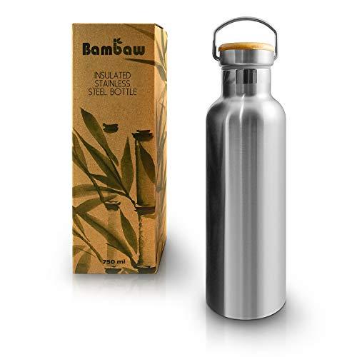 Bambaw Gourde INOX 750 ML | Bouteille Thermos | Bouteille Isotherme | Gourde écologique | Gourde réutilisable | Gourde Acier Inoxydable sans Plastique | Maintient Chaud et Froid Bouteille Bambou