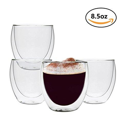 Eiskaffee Becher Großer (Rachel's Choice 250ml Doppelwandige Thermo Gläser Glas Becher Tassen,4er Set für Kaffee, Eiskaffee, Tee, Cappuccino usw.)