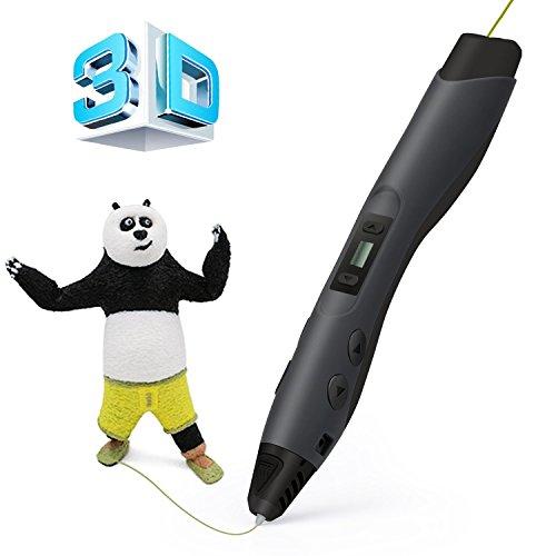y 3D Pen Schwarz mit LCD-Bildschirm + 2 X ⌀1,75 mm PLA Filament - insgesamt 6M, DIY Geschenk für Kinder Anfänger Erwachsene Zeichnung, kompatibel mit 1,75 mm PLA/ABS/PCL Filamente (Halloween Zeichnungen Von Schwarzen Katzen)