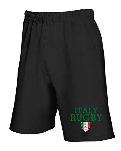Cotton Island - Pantalone Tuta Corto T0956 ITALY RUGBY sport Nero
