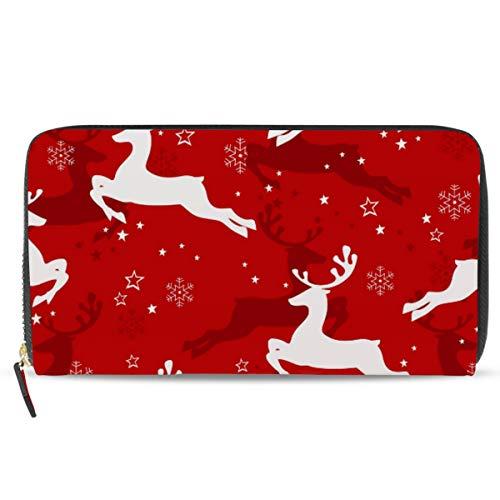 Ahomy - Cartera de Piel para Mujer, diseño de Ciervo de Navidad, Copo de Nieve, Fondo Rojo, Bolso de Mano Largo con Bolsillo con Cremallera