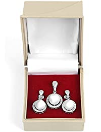 RAJAT ADORE 925 Sterling Silver Imported OFF WHITE Pearl Pendant Earring/Jhumkhi Set For Girls And Women