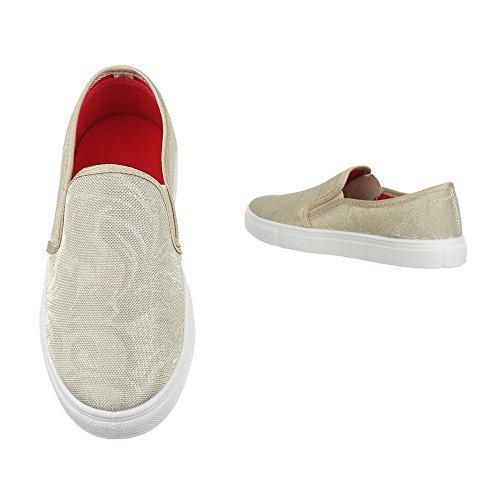 Slipper Damen Schuhe Low-Top Moderne Ital-Design Halbschuhe Beige 22-168