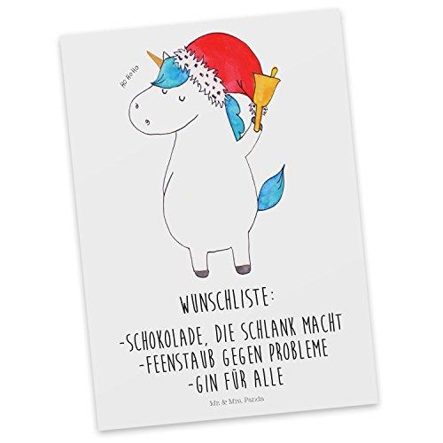 Mr. & Mrs. Panda Geschenkkarte, Sprüche, Postkarte Einhorn Weihnachtsmann mit Spruch - Farbe Weiß (Weihnachtsmann Postkarten)