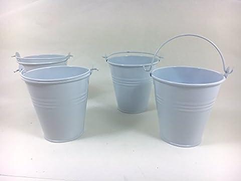white Steel Serving Buckets 10cm - Set of 4   Mini Bucket, Metal Bucket, Chip Bucket, Ash Tray Bucket