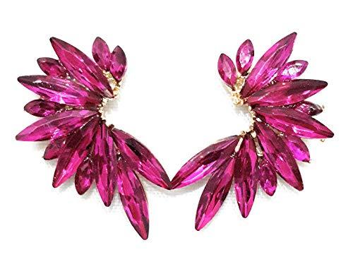 78adc35f501b 1 - Pendientes Cristales Colores Mujer Pendientes Fiesta Boda Medio Aro