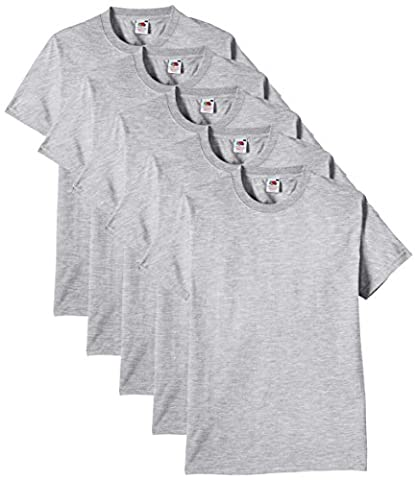 Fruit of the Loom Men's Heavy Cotton 5 Pack Regular Fit Round Collar Short Sleeve T-Shirt, Heather Grey,