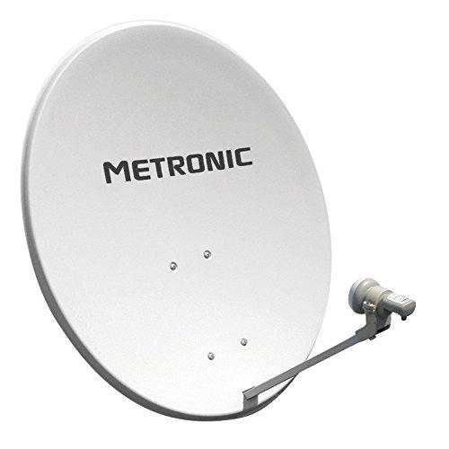 Metronic 498250 Kit parabole acier 80cm + Tête de parabole LNB universelle - CALYSTA - Blanc