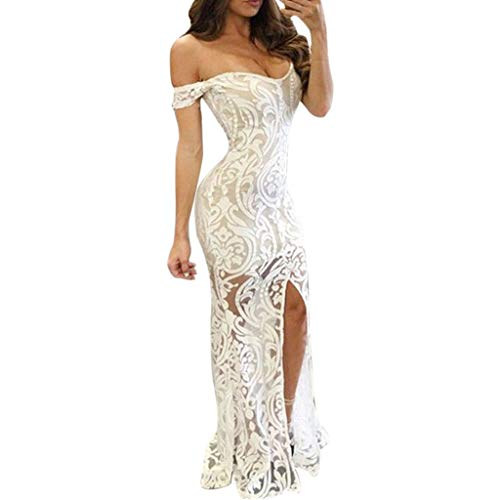 (Sasstaids Sommerkleid,Frauen sexy Slash Neck Maxi Dress a-line Boden Gabel länge Party Dress Prom Dress)