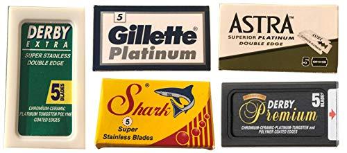 Schwertkrone 25 Rasierklingen Testpaket für Rasierhobel Astra Derby Shark Gillette - Rasierklingen Set